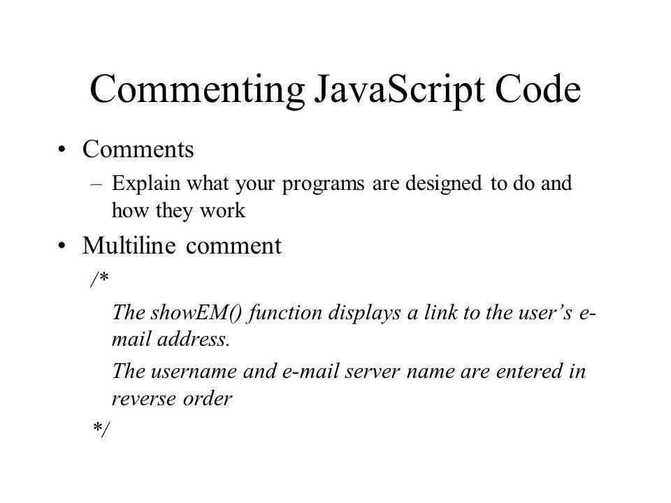 Commenting JavaScript Code