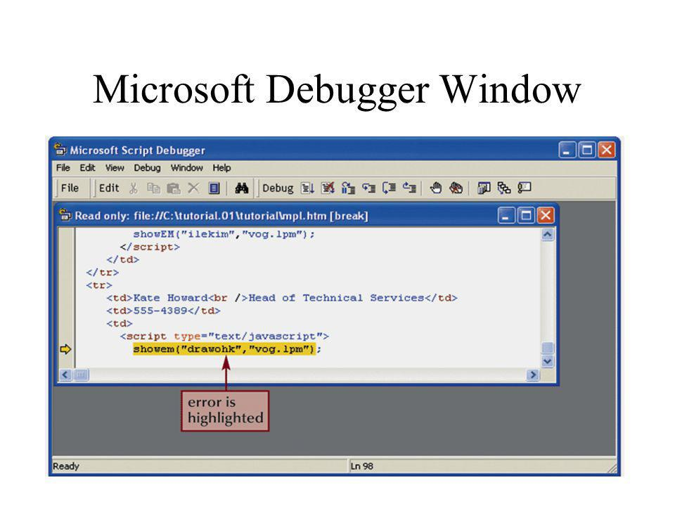 Microsoft Debugger Window