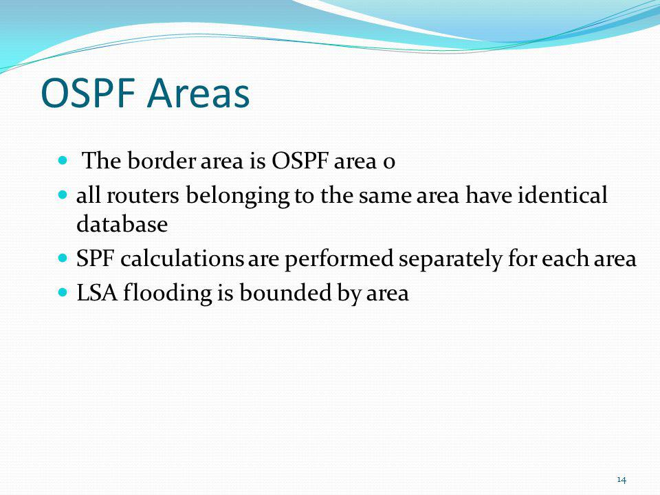OSPF Areas The border area is OSPF area 0