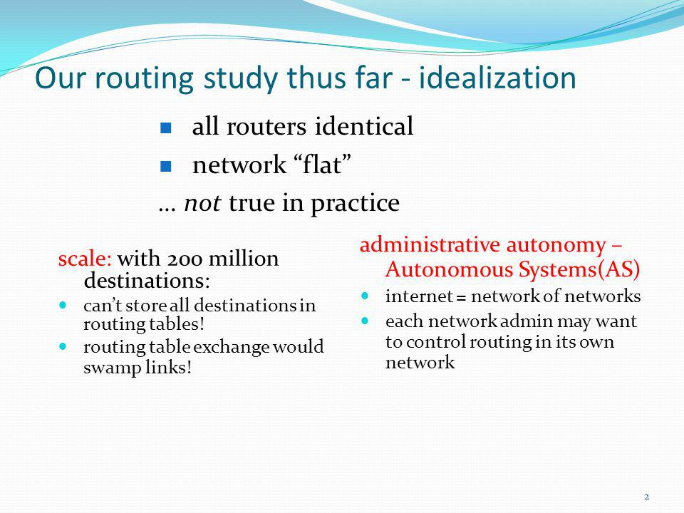 Our routing study thus far - idealization