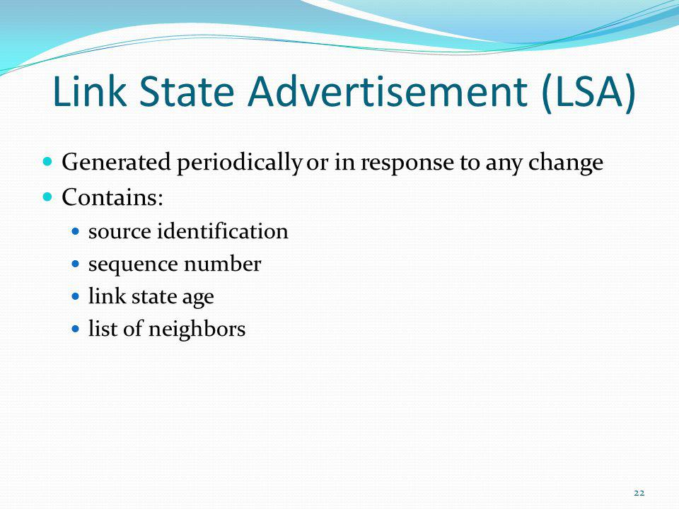 Link State Advertisement (LSA)