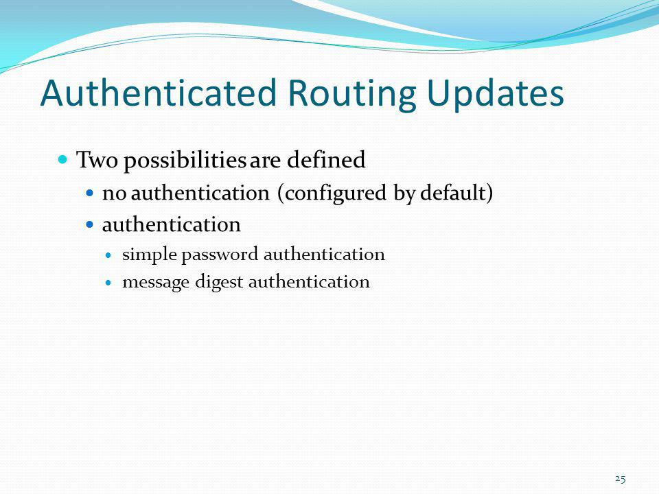 Authenticated Routing Updates