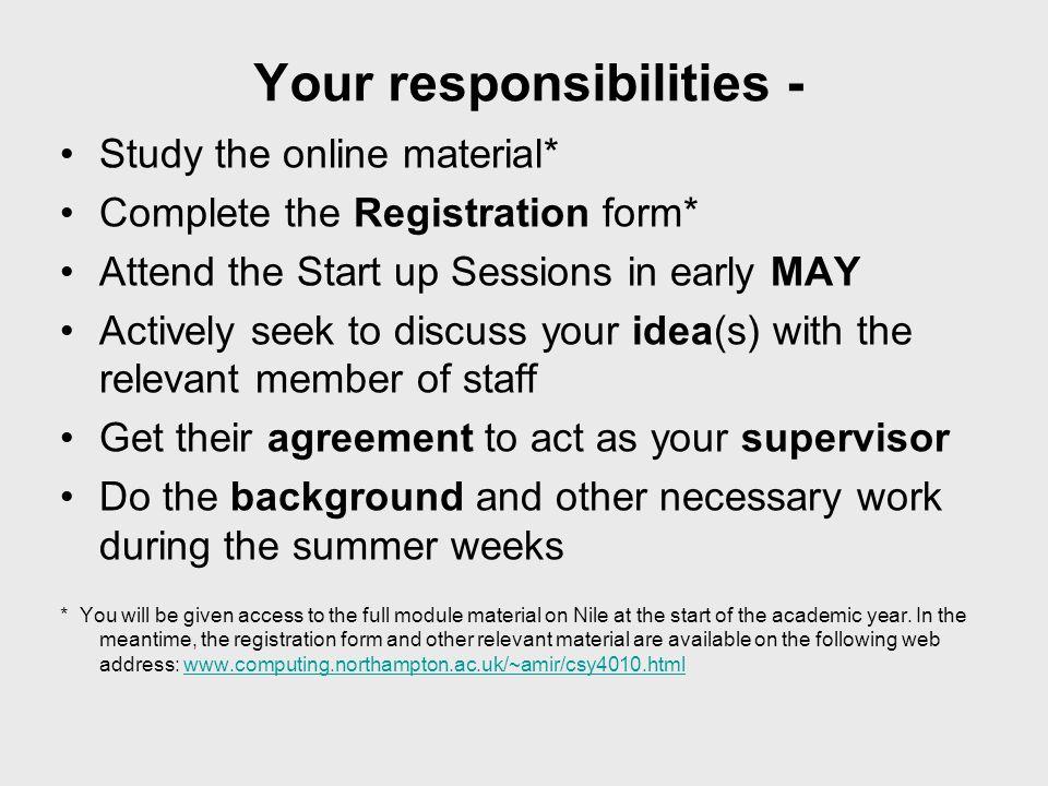 Your responsibilities -