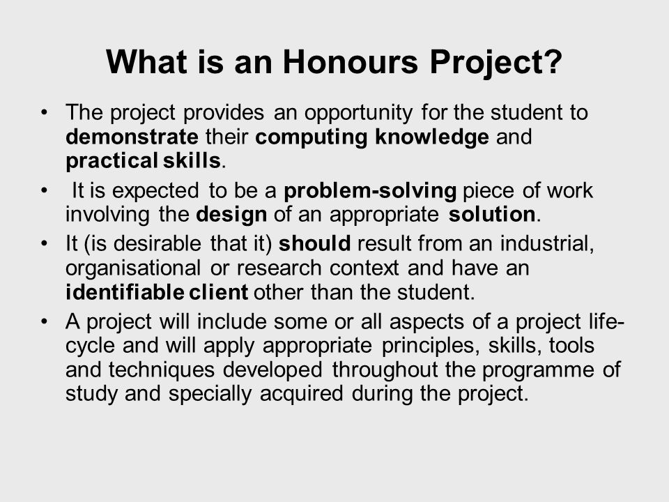 What is an Honours Project