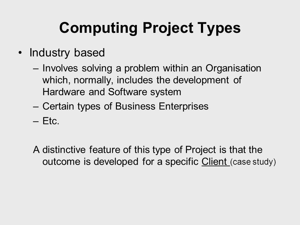 Computing Project Types