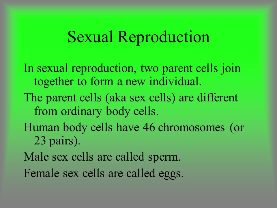 Sexual Reproduction In sexual reproduction, two parent cells join together to form a new individual.