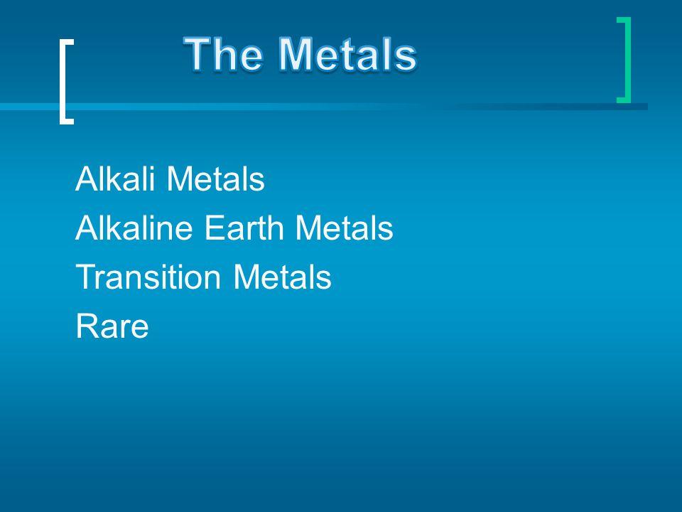 The Metals Alkali Metals Alkaline Earth Metals Transition Metals Rare