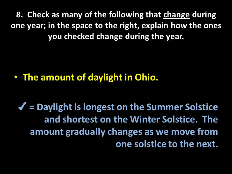 The amount of daylight in Ohio.
