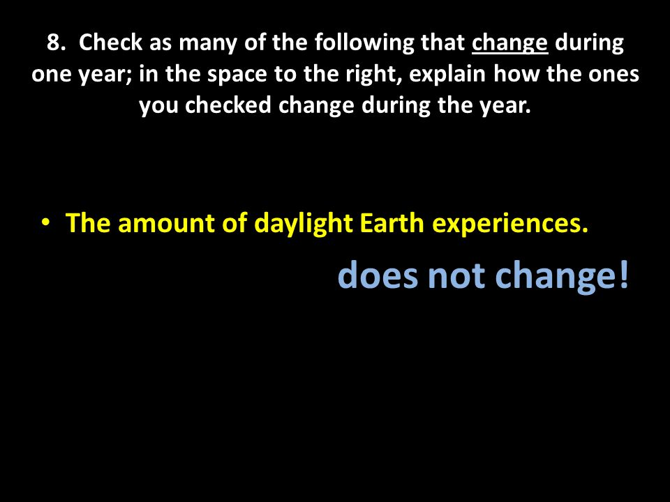 does not change! The amount of daylight Earth experiences.