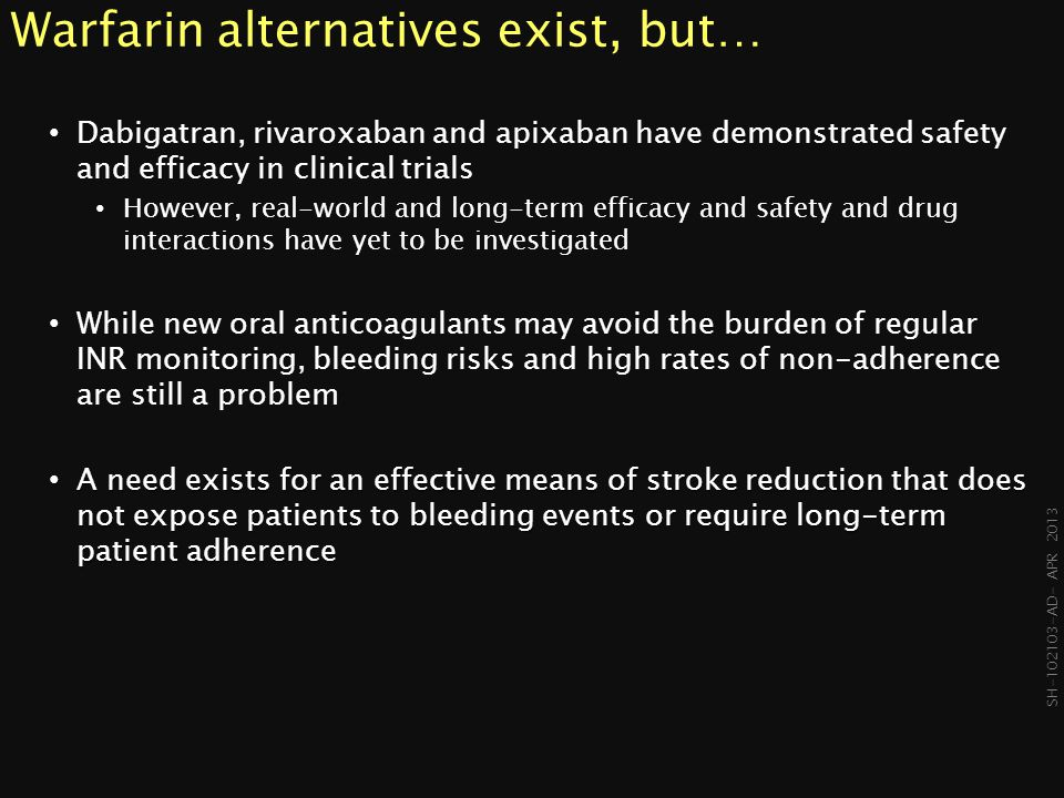 Warfarin alternatives exist, but…