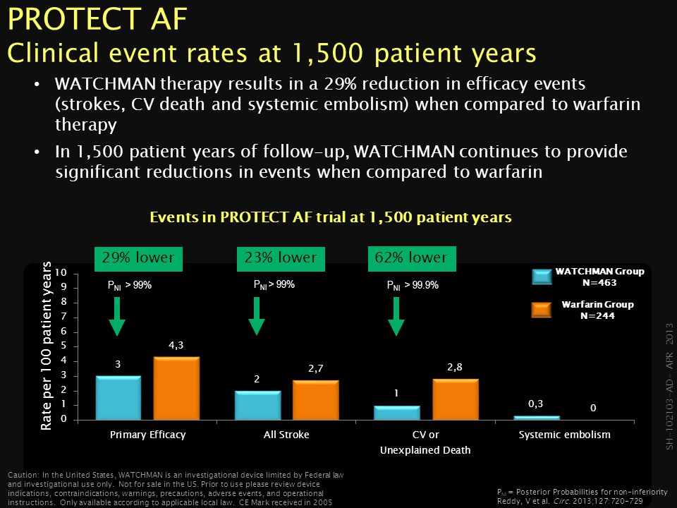 PROTECT AF Clinical event rates at 1,500 patient years