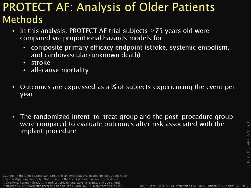 PROTECT AF: Analysis of Older Patients Methods