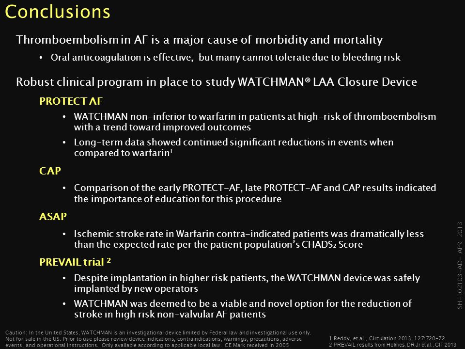 Conclusions Thromboembolism in AF is a major cause of morbidity and mortality.