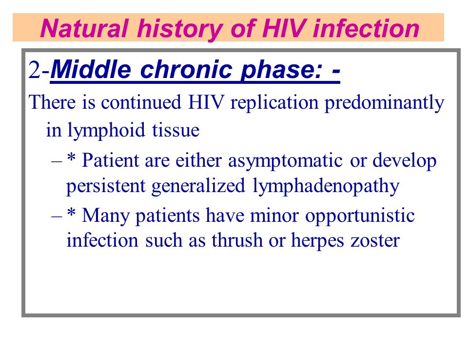 Natural history of HIV infection
