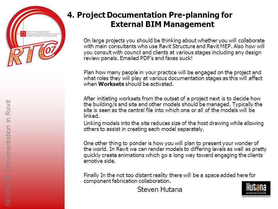 4. Project Documentation Pre-planning for External BIM Management