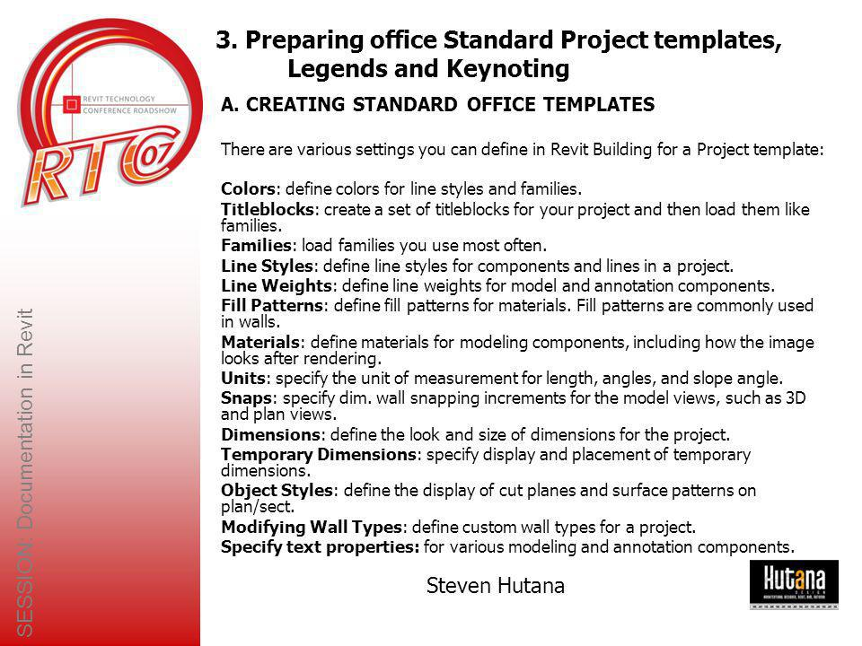3. Preparing office Standard Project templates, Legends and Keynoting
