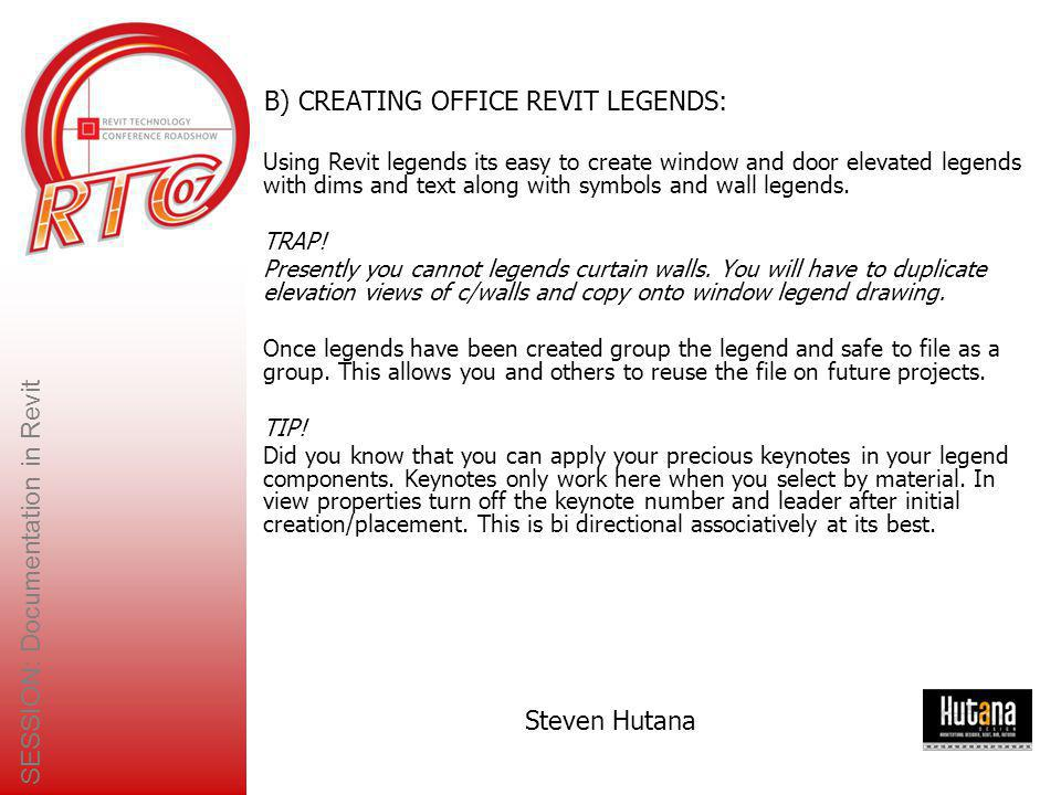 B) CREATING OFFICE REVIT LEGENDS:
