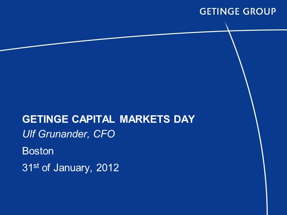 GETINGE CAPITAL MARKETS DAY