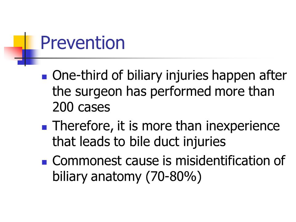 Prevention One-third of biliary injuries happen after the surgeon has performed more than 200 cases.