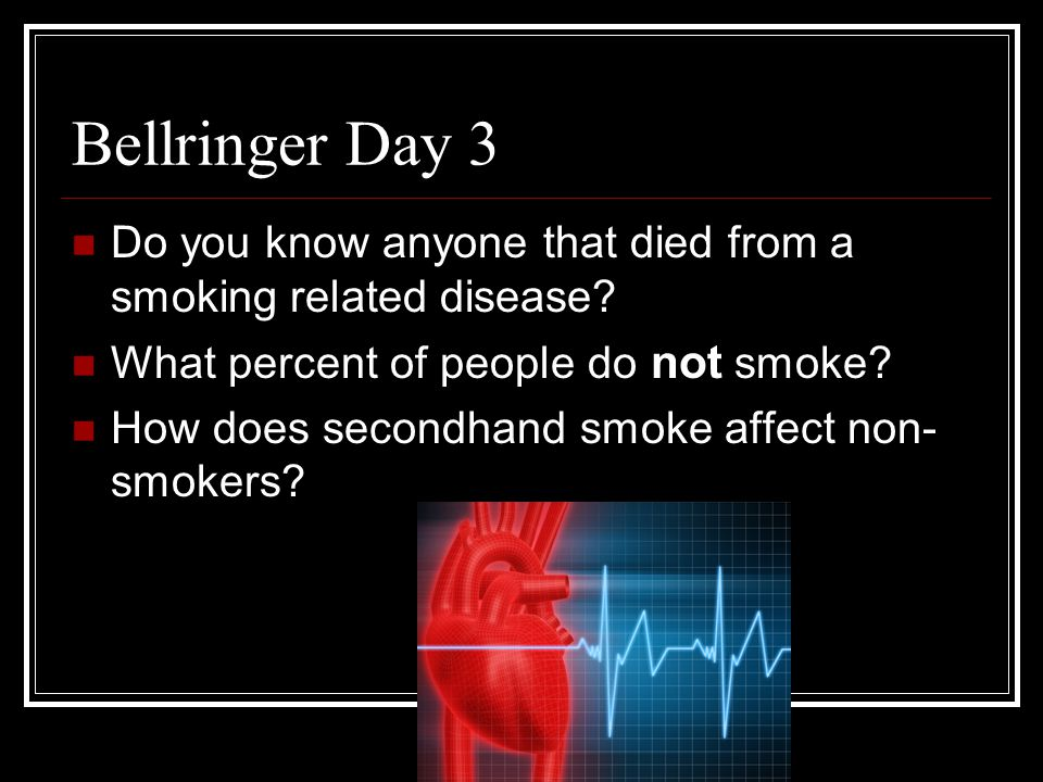 Bellringer Day 3 Do you know anyone that died from a smoking related disease What percent of people do not smoke