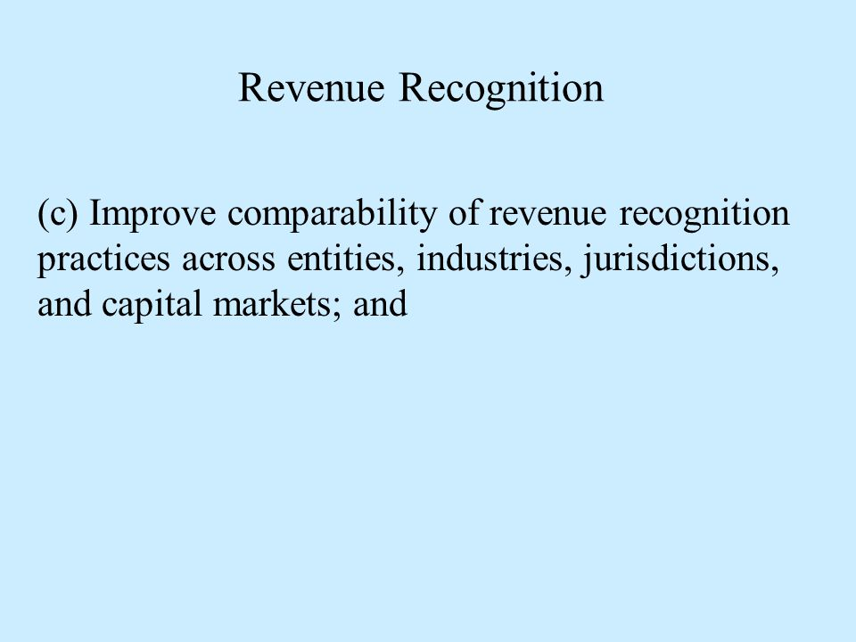 Revenue Recognition (c) Improve comparability of revenue recognition practices across entities, industries, jurisdictions, and capital markets; and.