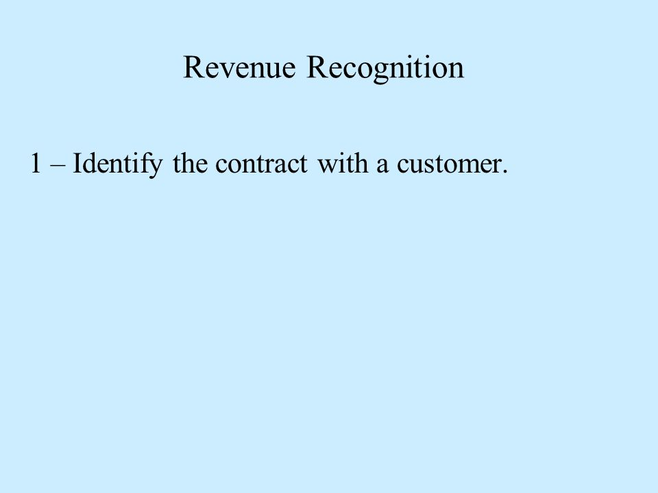 1 – Identify the contract with a customer.