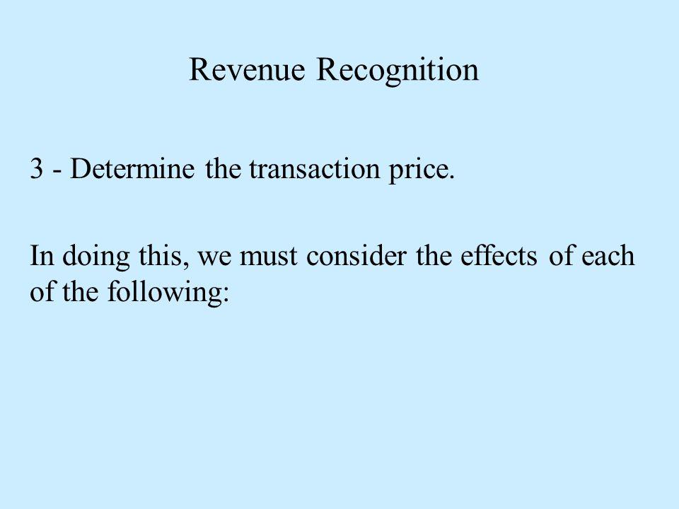 Revenue Recognition 3 - Determine the transaction price.
