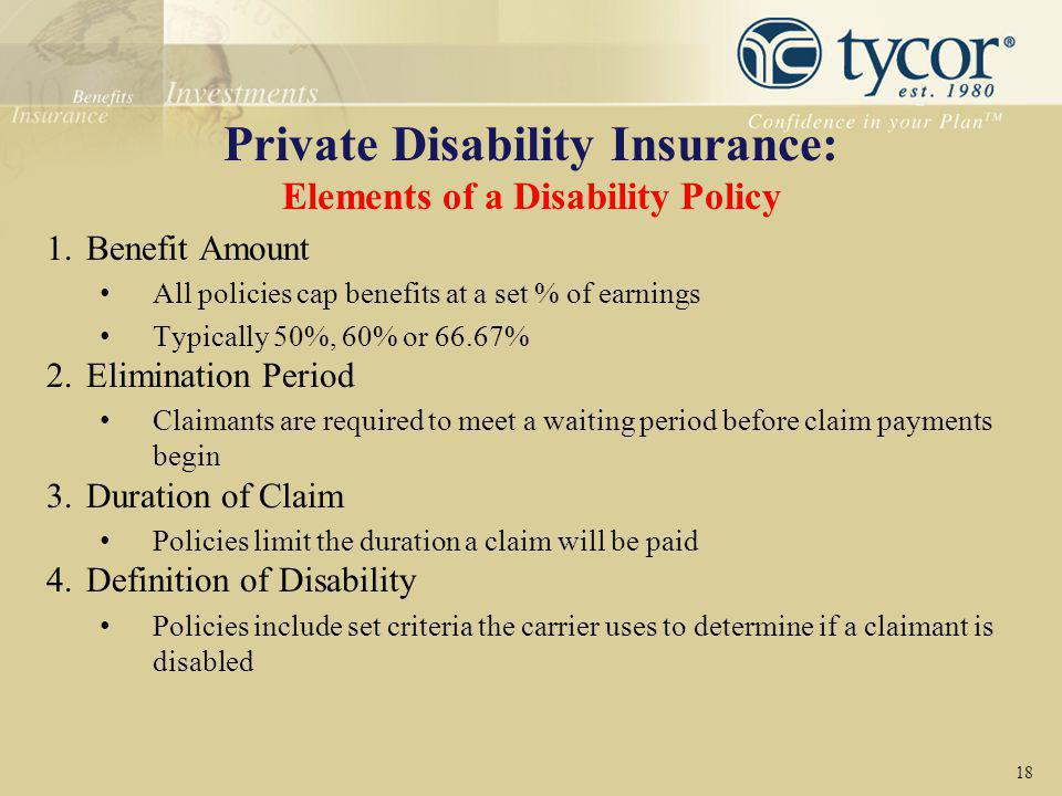 Private Disability Insurance: Elements of a Disability Policy