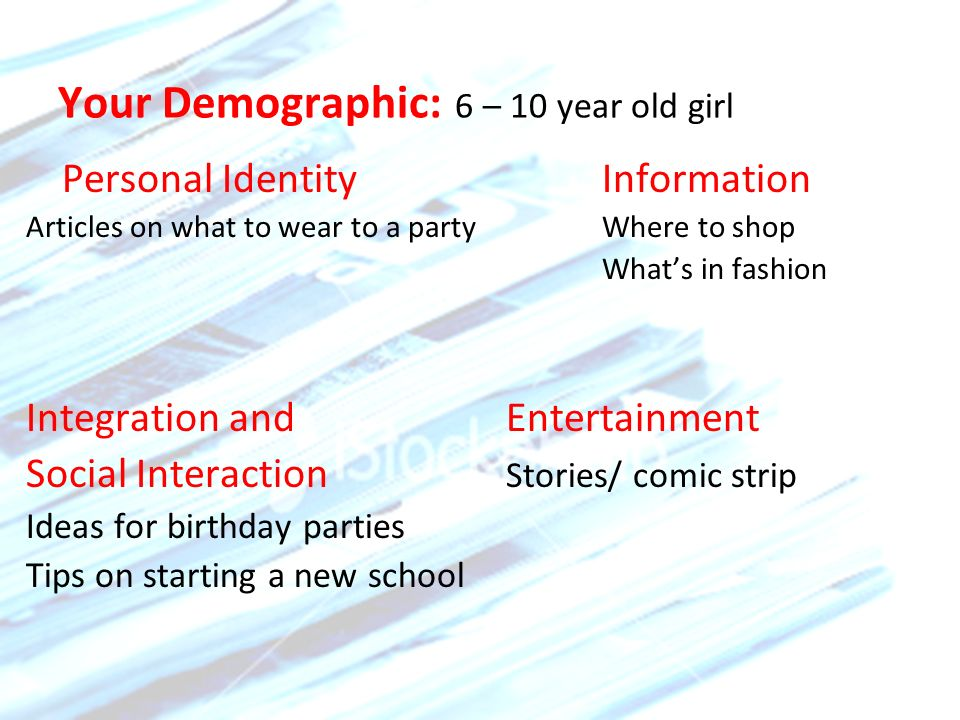 Your Demographic: 6 – 10 year old girl