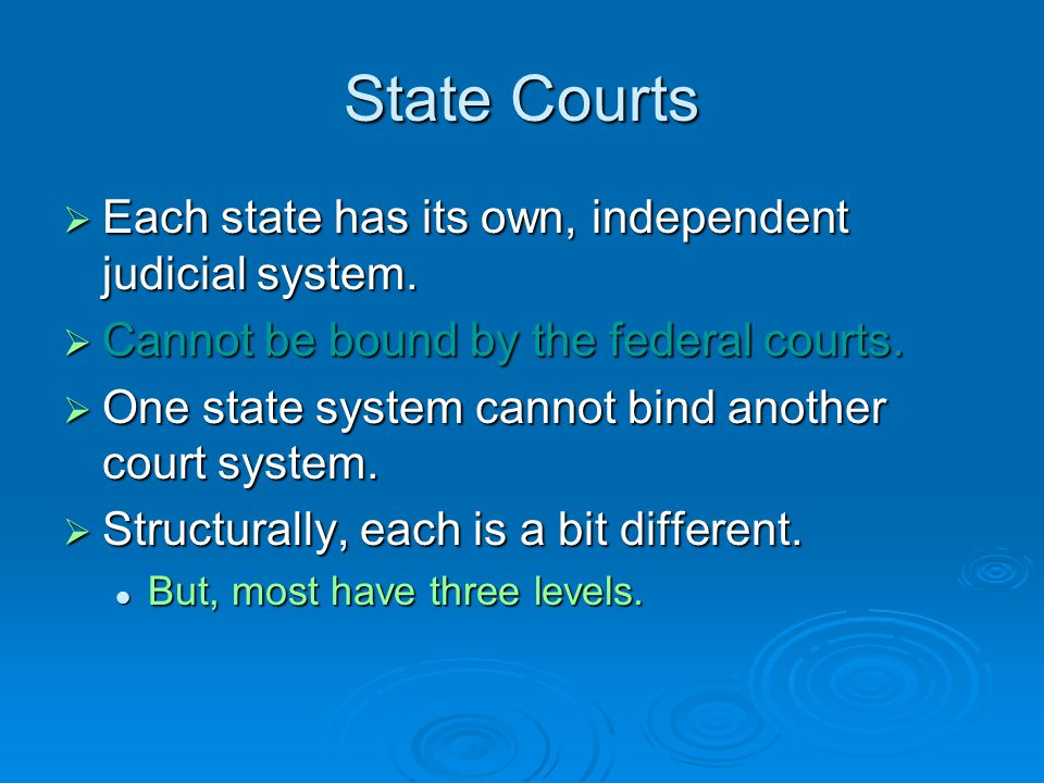 State Courts Each state has its own, independent judicial system.