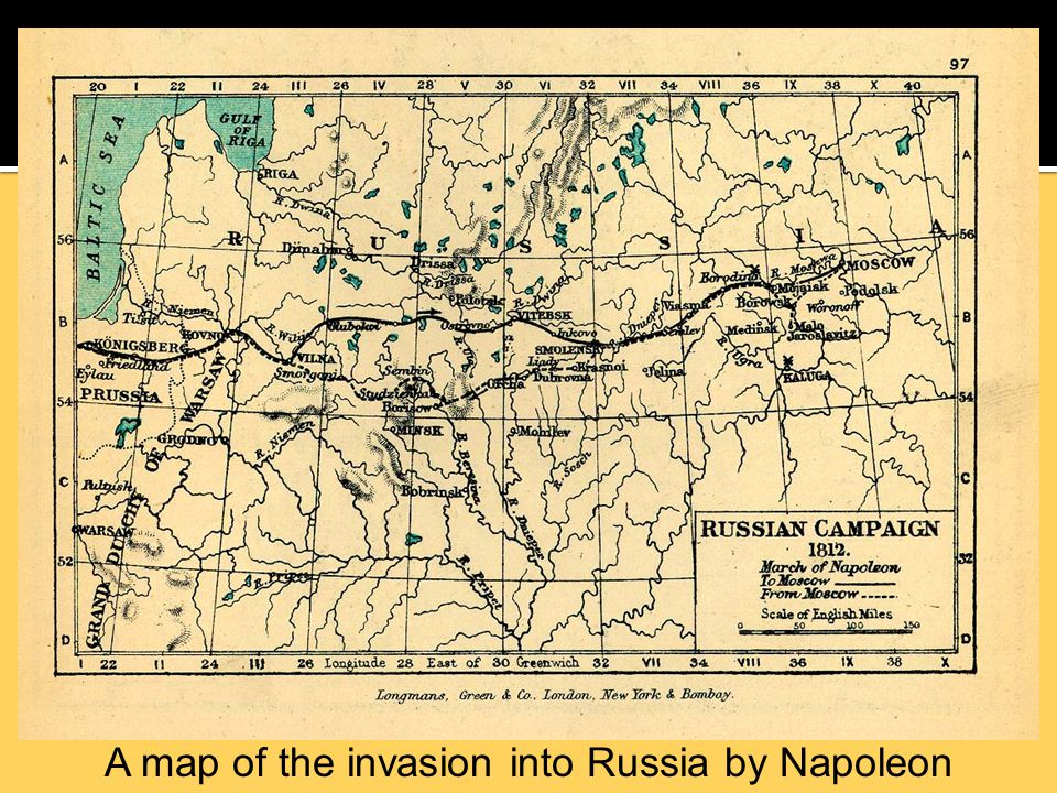 A map of the invasion into Russia by Napoleon Bonaparte