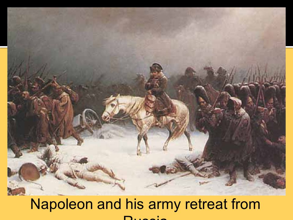 Napoleon and his army retreat from Russia