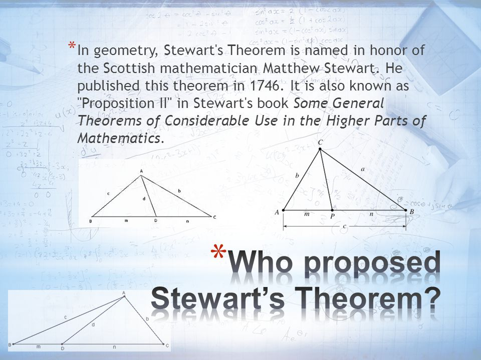 Who proposed Stewart's Theorem