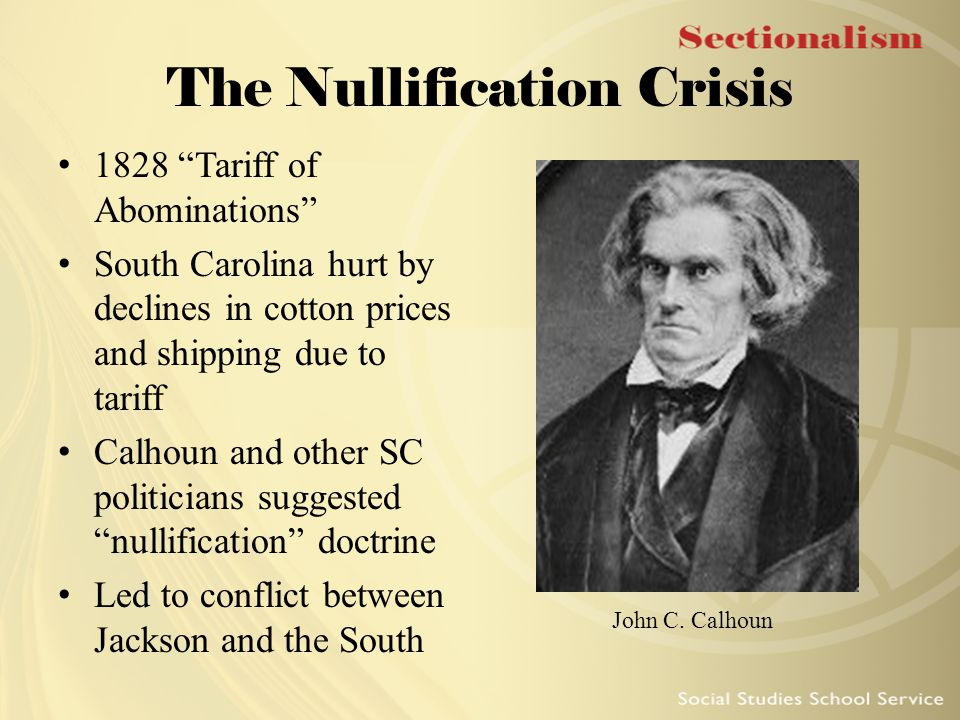 the crisis during the presidency of andrew jackson The nullification crisis was a sectional crisis during the presidency of andrew jackson created by the ordinance of nullification, an attempt by the.