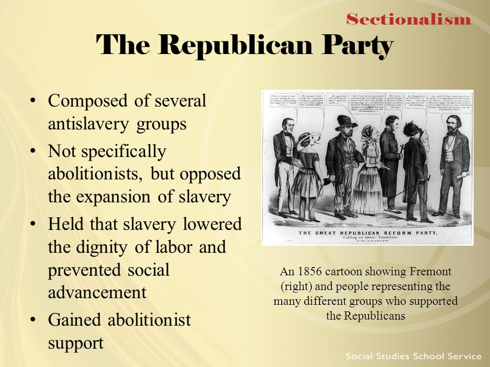 The Republican Party Composed of several antislavery groups