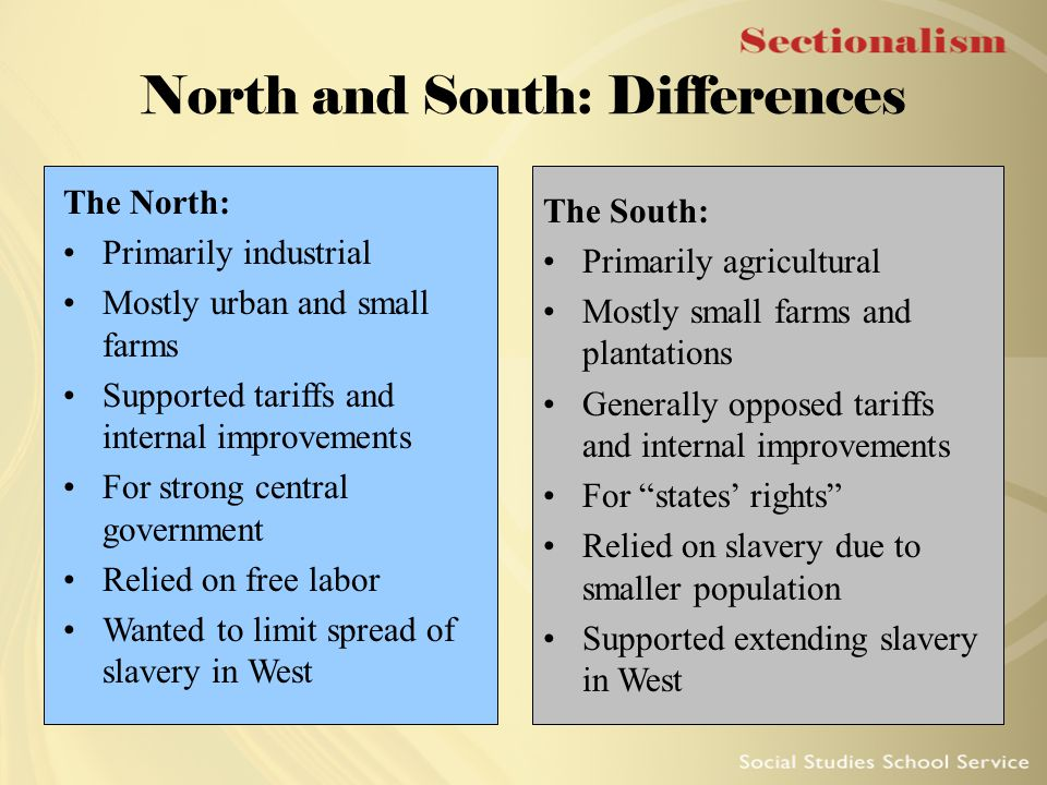 "sectional tension between north and south essay His plan also made the south suspicious of the north's intentions  this was the  first party formed that was a ""sectional party"" and they picked martin van buren   pro-slavery and anti-slavery settlers in one area and this leads to conflict."