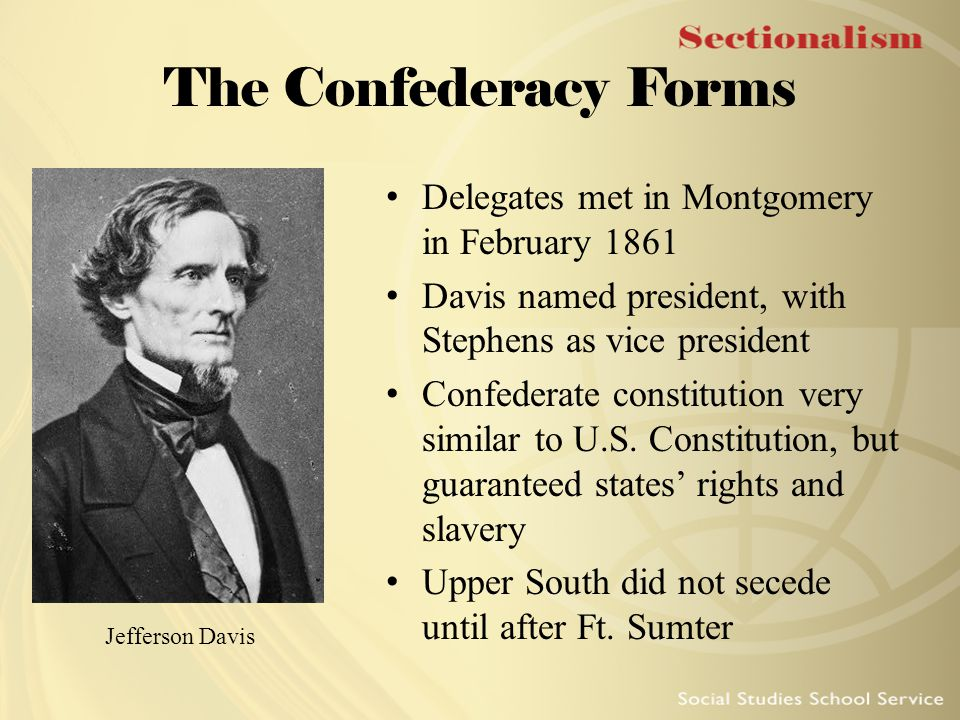 The Confederacy Forms Delegates met in Montgomery in February 1861