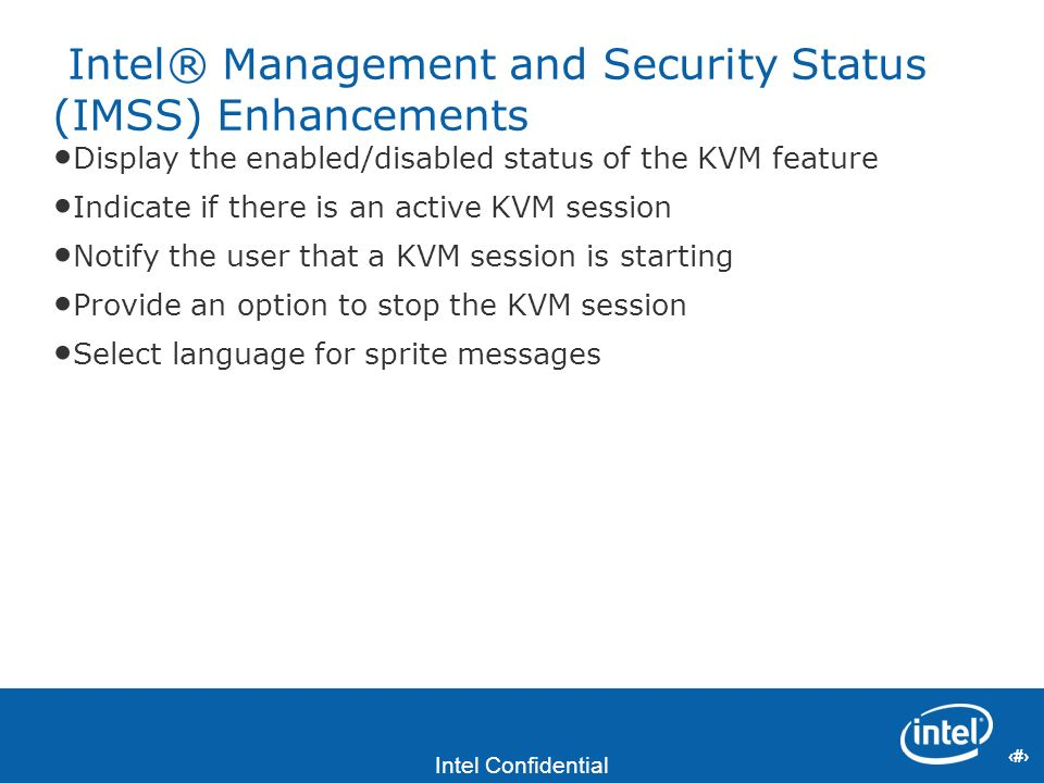 Intel® Management and Security Status (IMSS) Enhancements