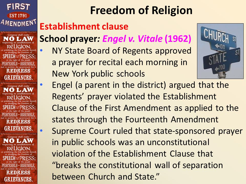 the development of the freedom of religion in public schools The development of the freedom of religion in public schools president jefferson had written that the freedom of religion clause in the constitution was aimed to build a wall of separation between church and state.