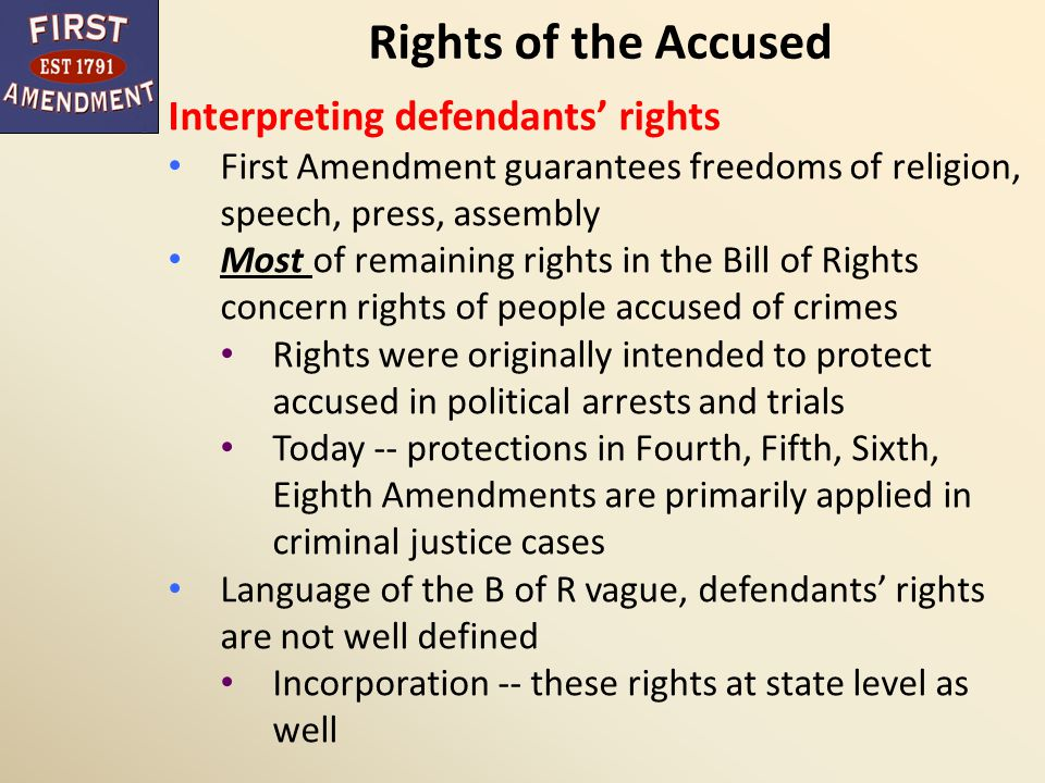 Rights of the Accused Interpreting defendants' rights