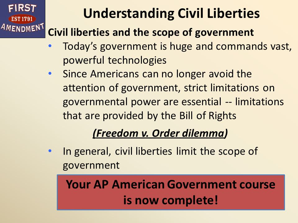 are civil liberties protected sufficiently in Protected civil liberties include the right to due process, equal protection, and a prohibition against any state law that supersedes federal law the difference between civil rights and.