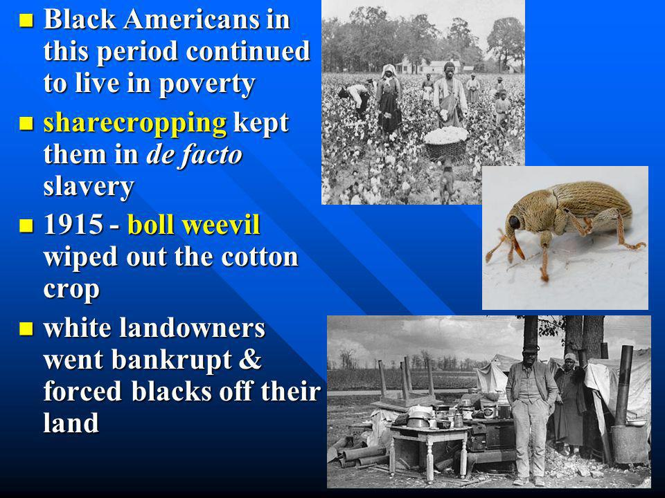 Black Americans in this period continued to live in poverty