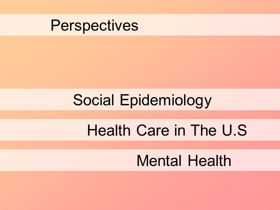 Perspectives Social Epidemiology Health Care in The U.S Mental Health