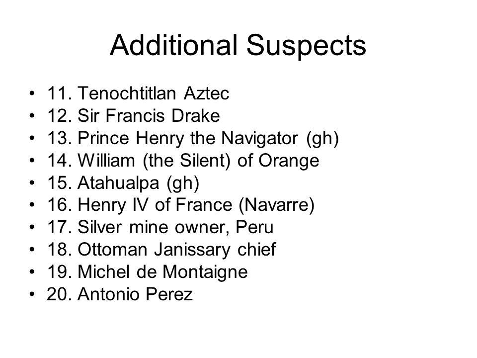 Additional Suspects 11. Tenochtitlan Aztec 12. Sir Francis Drake