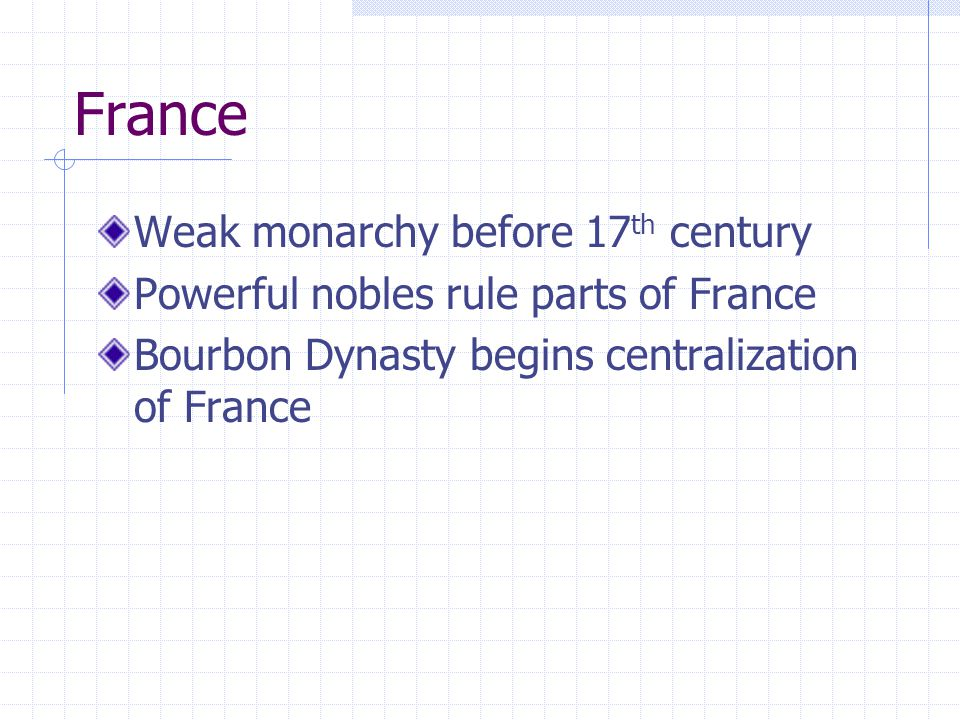 France Weak monarchy before 17th century