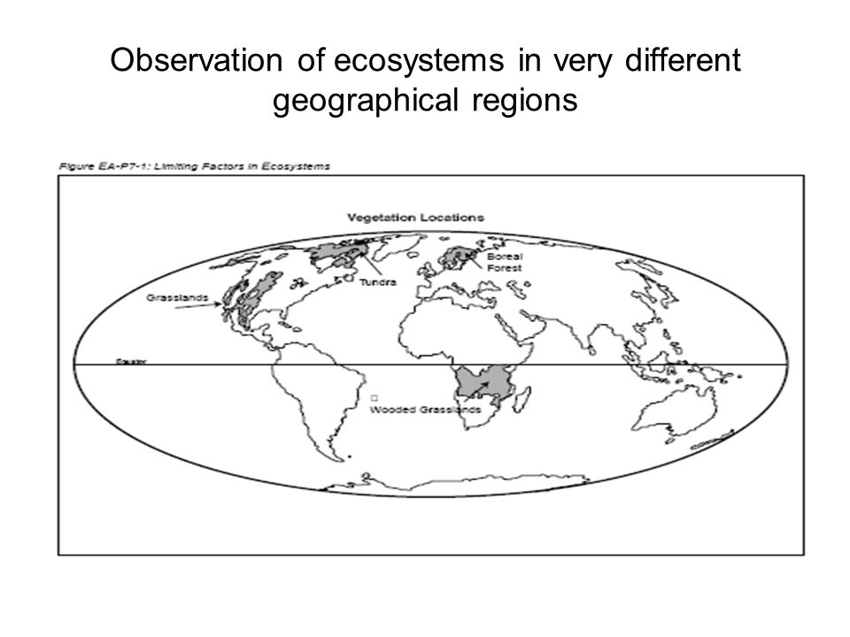 Observation of ecosystems in very different geographical regions
