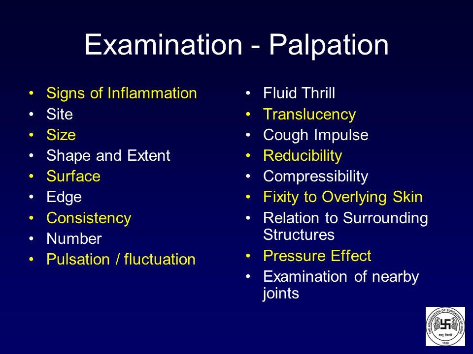 Examination - Palpation