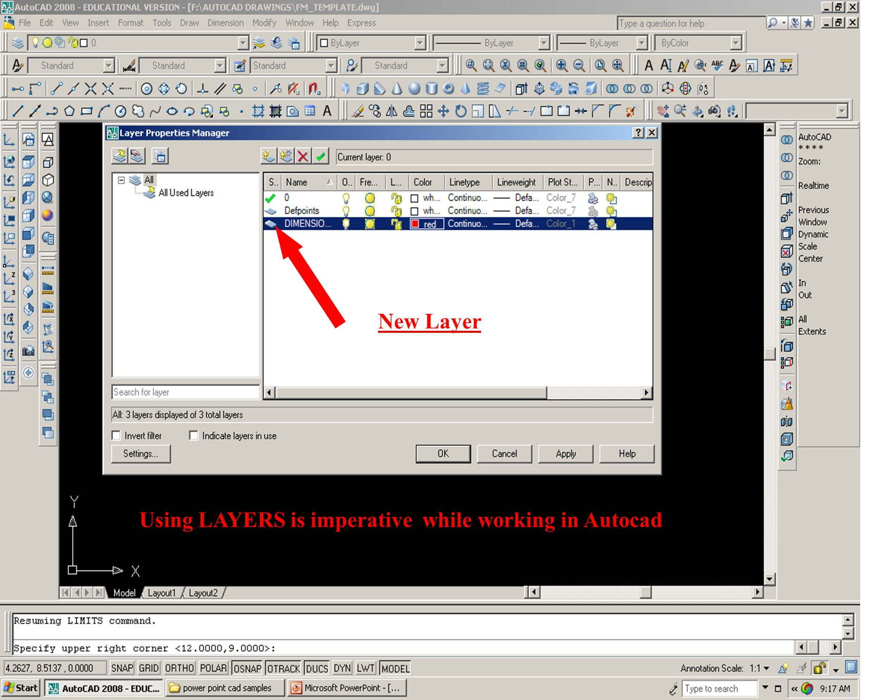 Using LAYERS is imperative while working in Autocad