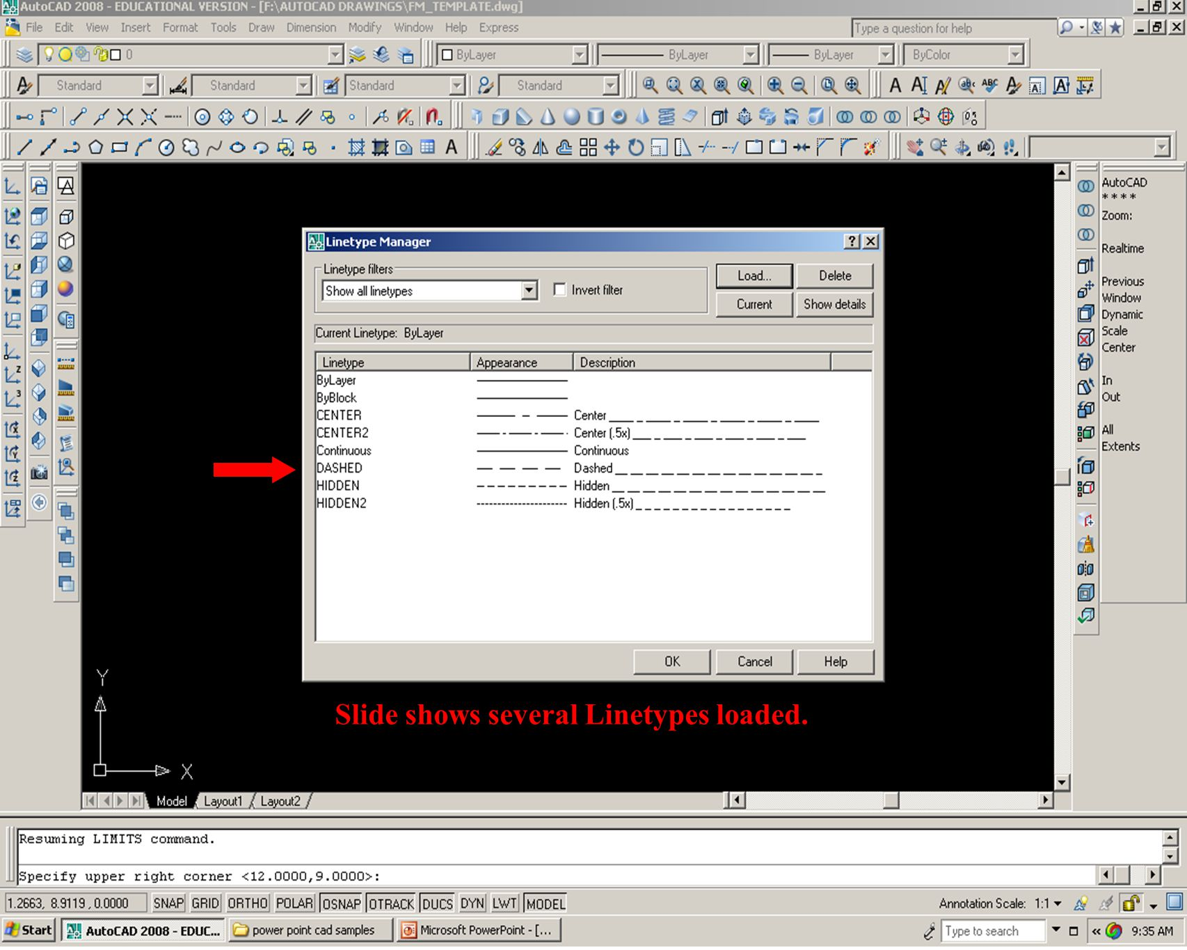 Slide shows several Linetypes loaded.