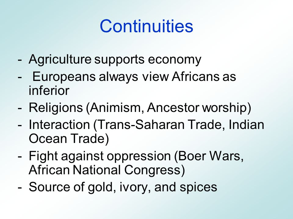 religious changes and continuities in sub saharan africa After 900 ce, islam spread to southern europe, central and southeast asia, sub-saharan and east africa through missionaries and trade, and islamic traditions often mixed with local culture buddhism spread to southeast asia and central asia through missionaries, but it often adapted to local customs and mixed with other traditions.